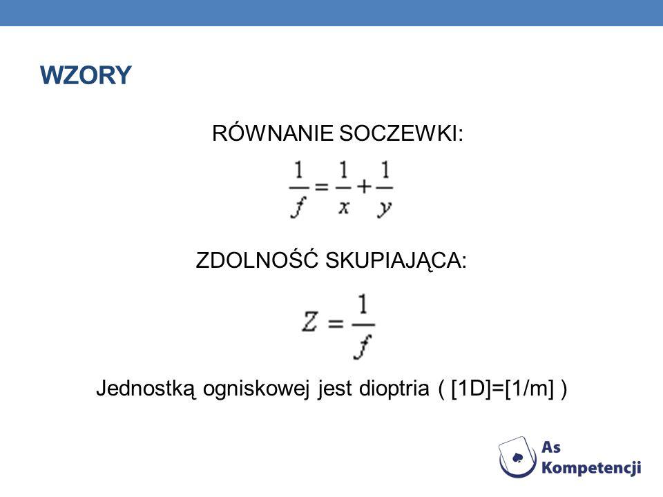 Jednostką ogniskowej jest dioptria ( [1D]=[1/m] )